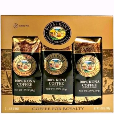 One gold gift box containing three 1.75 ounce bags of 100 percent Kona Coffee. Each bag makes one pot of 100% Kona Coffee.