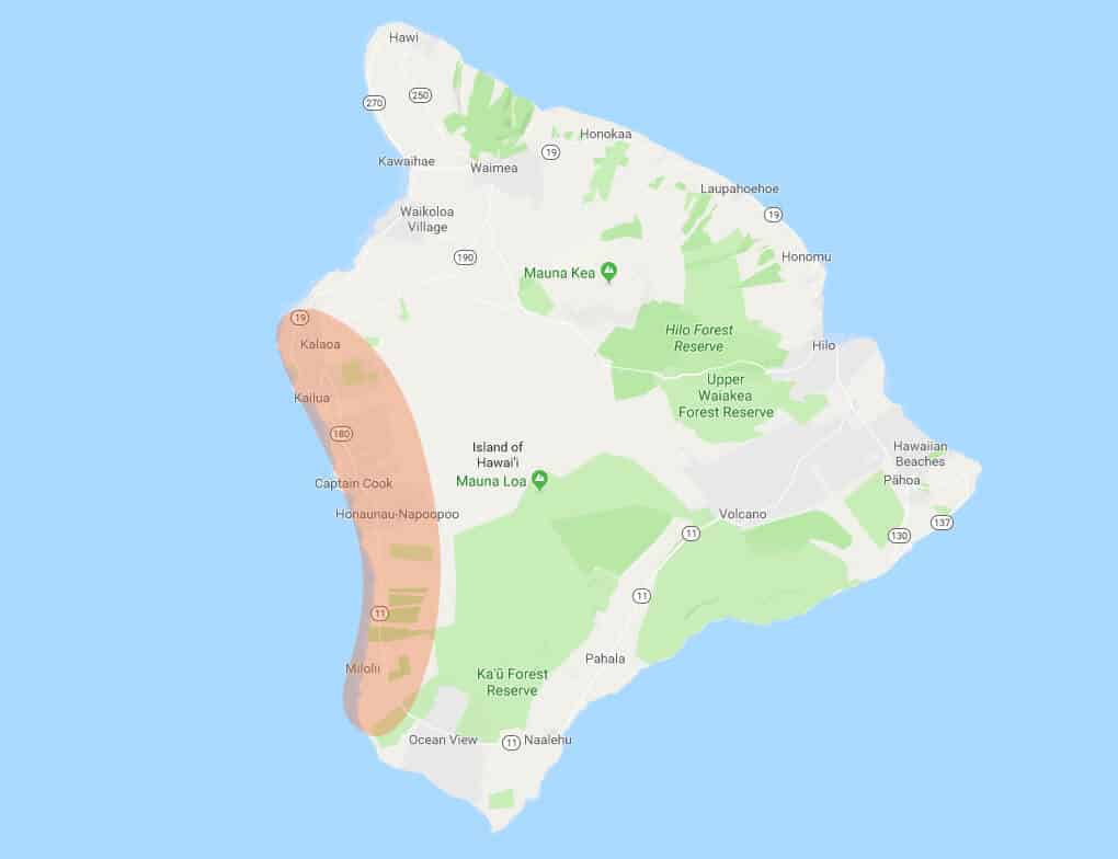 Map of the kona coffee region