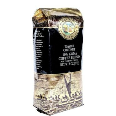 one 8 ounce bag of Toasted Coconut 10 percent Kona Blend Coffee